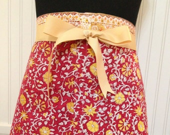 Country half apron cotton placemats red gold print gold grosgrain ribbon ties