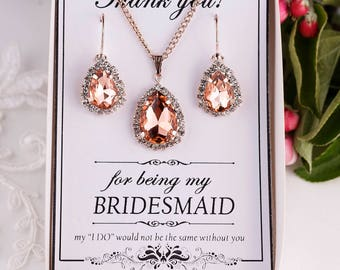 Peach Jewelry Set Peach Bridesmaid Gift Bridesmaid Jewelry Peach Crystal Jewelry Set Maid of Honor Gift Matron of honor gift Bridal Party