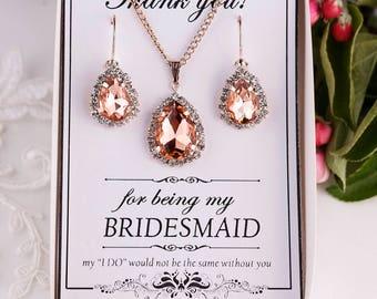 Peach Jewelry Set Peach Bridesmaid Gift Bridesmaid Jewelry Peach Crystal Jewelry Set Maid of Honor Gift Matron of honor gift Bridal Party