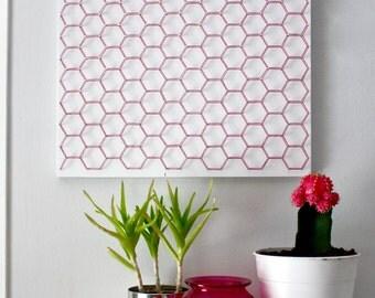 Hexagon wall art, geometric wall art, modern wall art, colorful wall art, living room wall art, bedroom wall art, home decor, wall decor