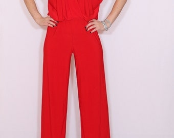Red jumpsuit Sleeveless jumpsuits women Wrap top