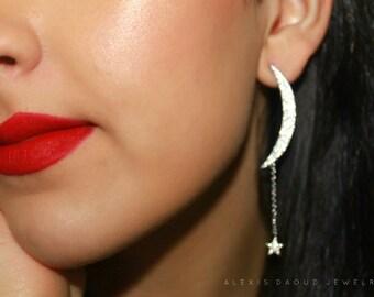 Moon Earrings, Moon and Star Earrings, Star Earring, Crescent Moon Earrings, Moon Earrings, Sterling Silver