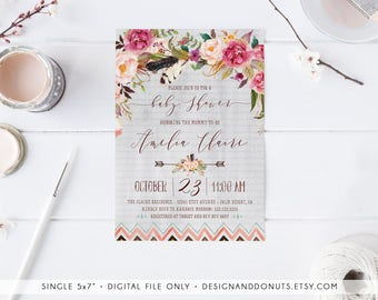 boho baby shower invitation girl printable tribal aztec floral