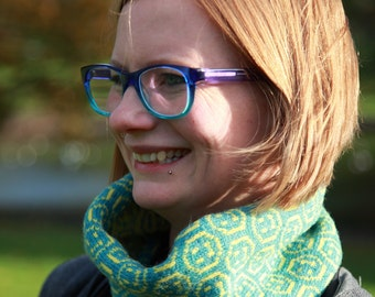 Knitted Smiley Face Cowl/Snood made from Shetland Wool - Blue and Yellow, Sustainable, Acid House, Rave, Eco, Cycling Gift, Winter