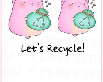 Recycle Trash Sprinkles || Planner Stickers, Cute Stickers for Erin Condren (ECLP), Filofax, Kikki K, Etc. || STB26