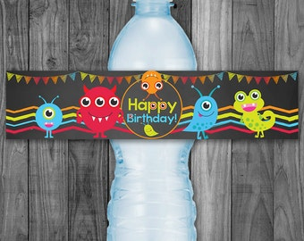 Monster Bithday Water Bottle Label - Monster Birthday Party  - Printable Monster Drink Label - Monster First Birthday Party - Monster Favors