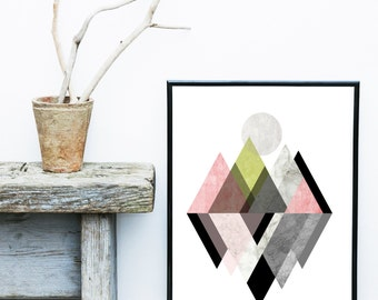 Scandi Wall Art Printable Art Geometric Print Triangle Art Print Geometric Art Geometric Wall Art Abstract Art Print Digital Download