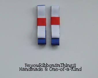 Patriotic | Red White Blue | Hair Clips for Girls | Toddler Barrette | Kids Hair Accessories | Grosgrain Ribbon | No Slip Grip