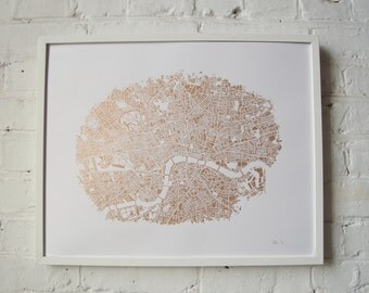 Arterial London' limited edition Silkscreen Print. Hand Drawn. Copper ink on Norfolk paper.