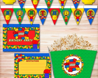 Lego Birthday Party Kit, Lego Theme, Building Block Birthday, Lego Banner, Lego Invitation, Lego Party, Lego Decorations, Lego Letters