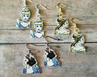 Vintage Disney Princess duct tape earrings. Disney Princess earrings. Duct tape earrings.