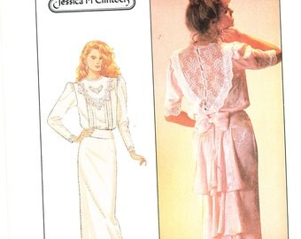 Simplicity 8224 (c) 1987; Jessica McClintock; FF Uncut; Misses' dress size 8, bust 31.5; wedding dress; Victorian dress