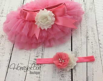 SET Coral Pink tutu skirt ruffle bloomers diaper cover, shabby chiffon Ivory flower headband bow, newborn infant toddler baby girl