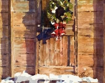 Christmas Painting, Christmas Wreath Painting, Christmas Shed, Watercolor Painting, Watercolor Print, Christmas Art, Christmas Wreath