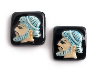 Vintage Greek Warrior Cameo, hand painted ceramic, square 13x13 mm - A68