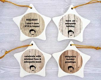 Ron Swanson Ornament Parks and Recreation Ornament Ron Swanson Christmas Ornaments Parks and Recreation Christmas Ornaments  Holiday