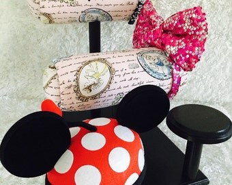 Double Row Ear Display and 2 Hat Holders- Different Fabrics and Base Colors Available