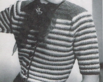Vintage 40s Knitting Pattern - Woman's Striped Cardigan from 1946 - instant download PDF - 1940's Retro Top