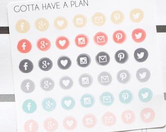 Planner Stickers Social Media Watercolor Icon for Erin Condren, Happy Planner, Filofax, Scrapbooking