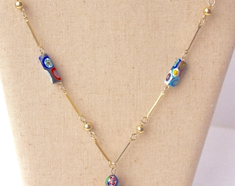 Vintage gold enamel beaded necklace
