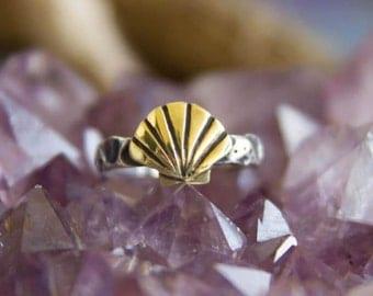 Brass Seashell Silver Mermaid Ring Size 6 1/2