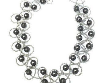 Black Fresh Water Pearl Silvery Gray Piano Wire Netting Necklace