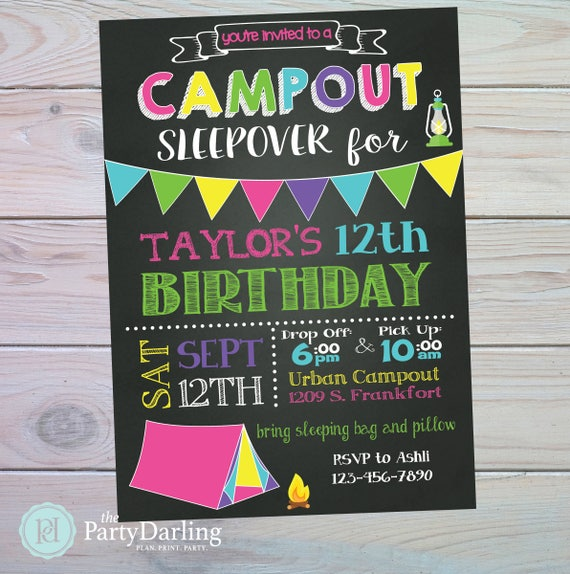 camping party invitation camping birthday party glamping party