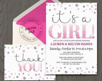 Girl baby shower invite template, it's a girl, diy invitations printable ideas, fuchsia pink glitter, couples, with thank you card DIGITAL