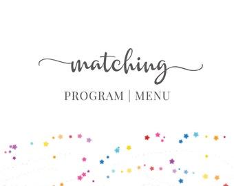 Matching Program   Menu, Add-On, DIGITAL - by Hands in the Attic