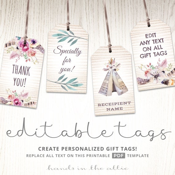Editable Boho Tags Gifts Favors Printable Template Labels
