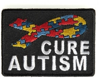 Cure Autism Iron On Patch 2.75 x 2 inch Free Shipping P4313