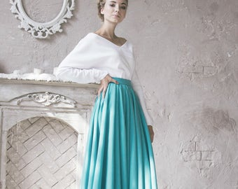Turquoise Maxi skirt Woman Full Circle Flared Skirt