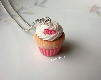 Kawaii Bow Cupcake, cupcake necklace, food charm, miniature food jewelry, cupcake jewelry, Valentine's day charm, pink bow charm, girly gift