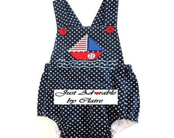 Baby romper, baby boy's summer romper, baby playsuit, baby beachwear, Appliqued navy/white infant romper. Size 12 – 18  mths. Ready to ship