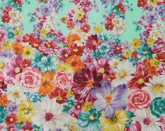 """Floral Cotton Fabric, Dress Material, Quilting Fabric, Sewing Decor, Designer Fabric, Home Accessories, 42"""" Inch Fabric By The Yard ZBC7109B"""