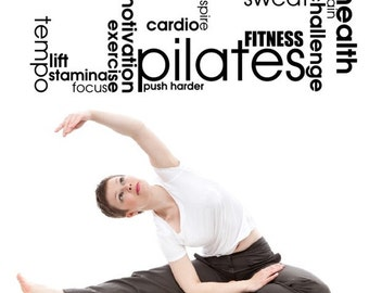 Pilates Motivation Focus Gym Love Hobby Workout Motivational Life Quote wall vinyl decals stickers Art Decor Bedroom Home Happiness
