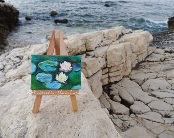 For lovers of Impressionism, lily pond, Monet, original, hand-painted acrylic on canvas 5 x 7 cm