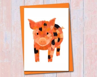 Micro pig card, Blank card, Piglet greeting card, Farm animal greeting card, Cute animal card, Birthday friendship card, Pig lover card