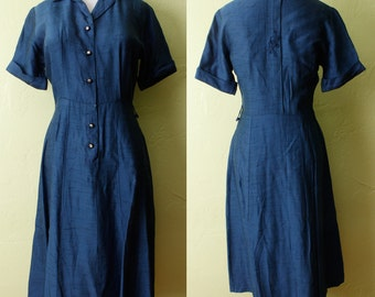 1950s Dress- Blue Silk Dupioni- Embroidered Design- Rhinestone Buttons- Mid Century