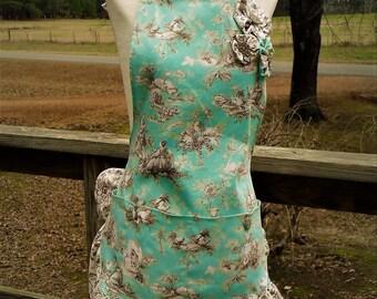 handmade aqua toile apron, ruffled apron, mothers day gift, womens apron, custom apron, gift for her, wedding gift, gift for women