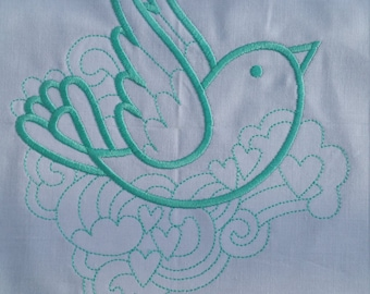Doodle Bird machine embroidered quilt block