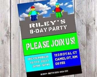 Lego Birthday Party Invitation, Printable Kids Party Invitation