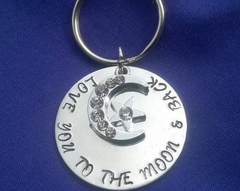 Love you to the moon and back key ring. Hand stamped. Love.