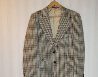 1950's Wool Tweed Houndstooth Pattern Jacket / 50's vintage tweed jacket / 50's wool tween jacket / 50's blue and yellow houndstooth jacket