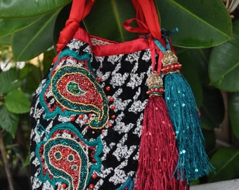 Ornament bags, ethnic bags, embroidered bags, bags with flower, wool bags, fabric bags, lace bags, red bags, black evening bag, wedding bags