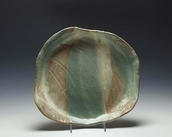 Handmade ceramic serving dish by potteryi. Large sage green shallow bowl.