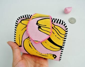 Banana Lovers Mini Purse, Change Purse, Coin Wallet, Bi-fold Wallet, Canvas Coin Purse, Small Wallet, Magnetic Closure - Made to Order