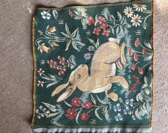 French Tapestry Square of a Hare, Reproduction of a Renaissance fragment