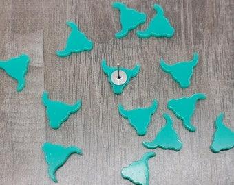 12mm Aqua Turquoise Longhorn Laser Cut Acrylic Blanks - 10 Pcs
