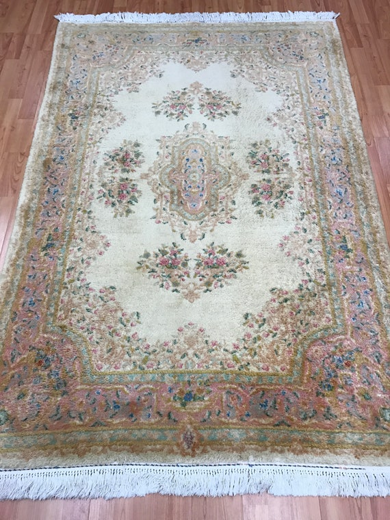 "4'2"" x 6' Persian Kerman Oriental Rug - 1950s - Hand Made - 100% Wool"